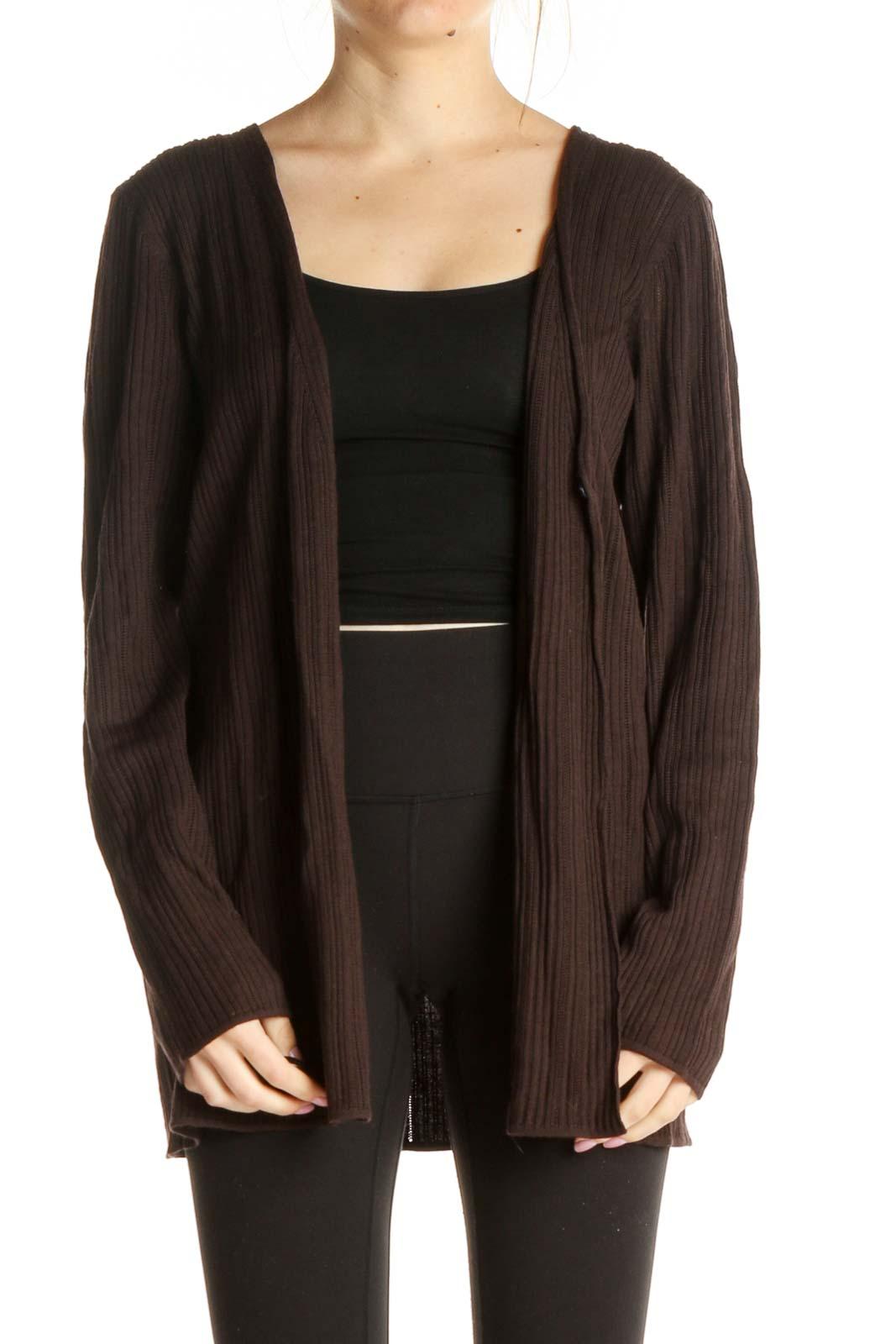 Brown Wool Cardigan Front