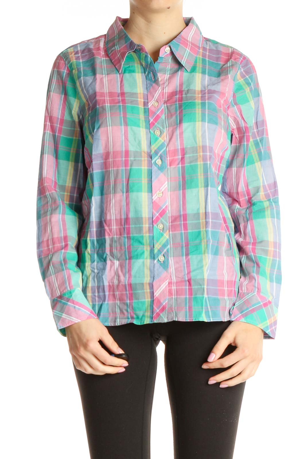 Pink Checkered Shirt Front
