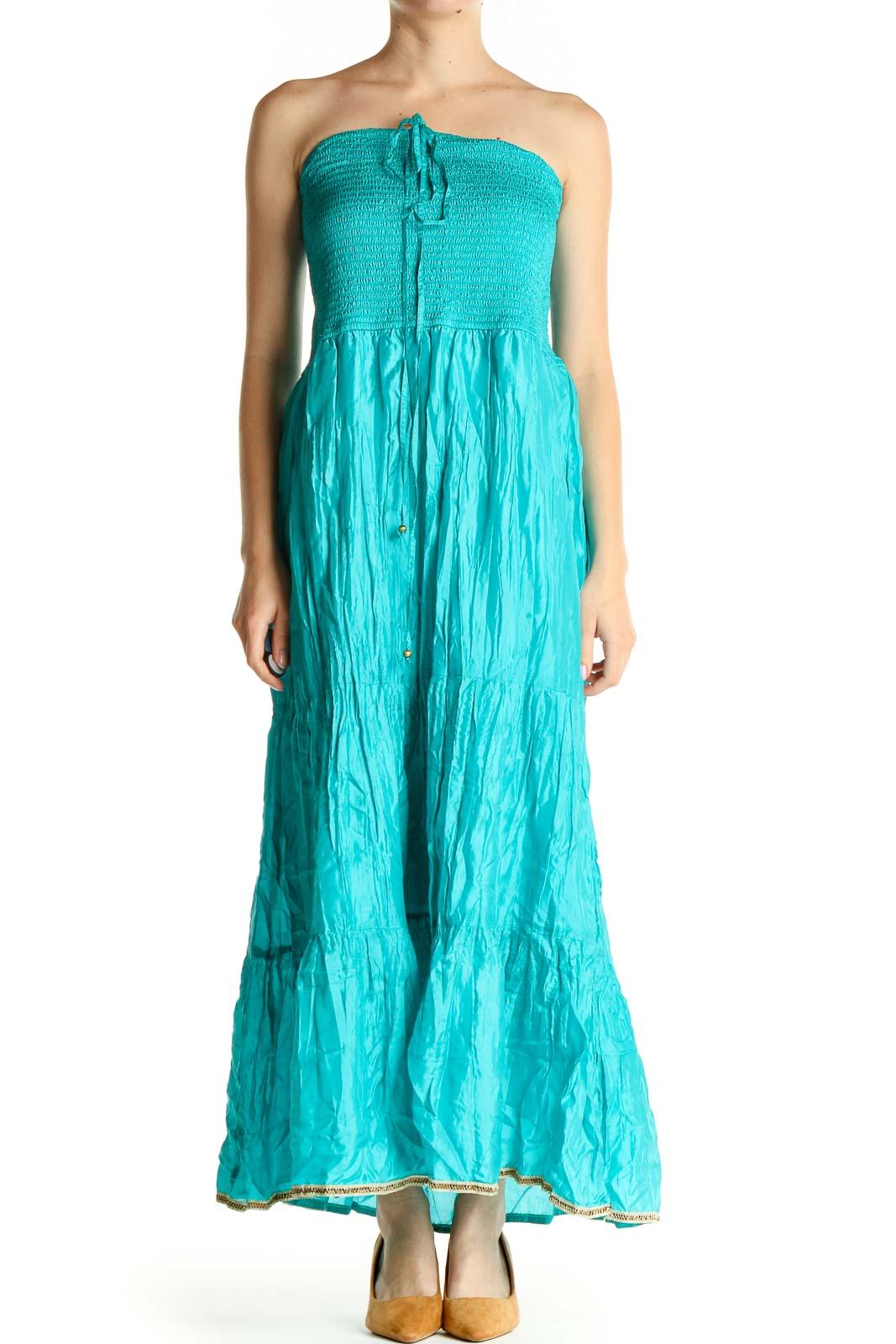 Blue Bohemian Column Dress Front