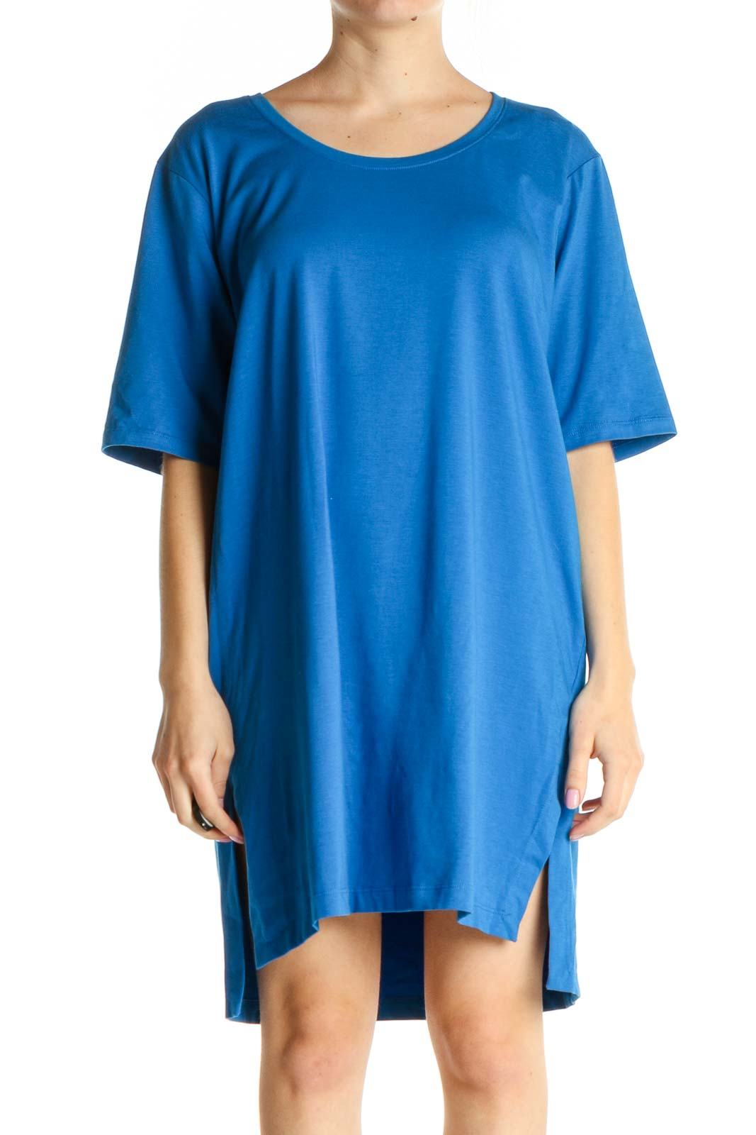 Blue Solid Day Shift Dress Front