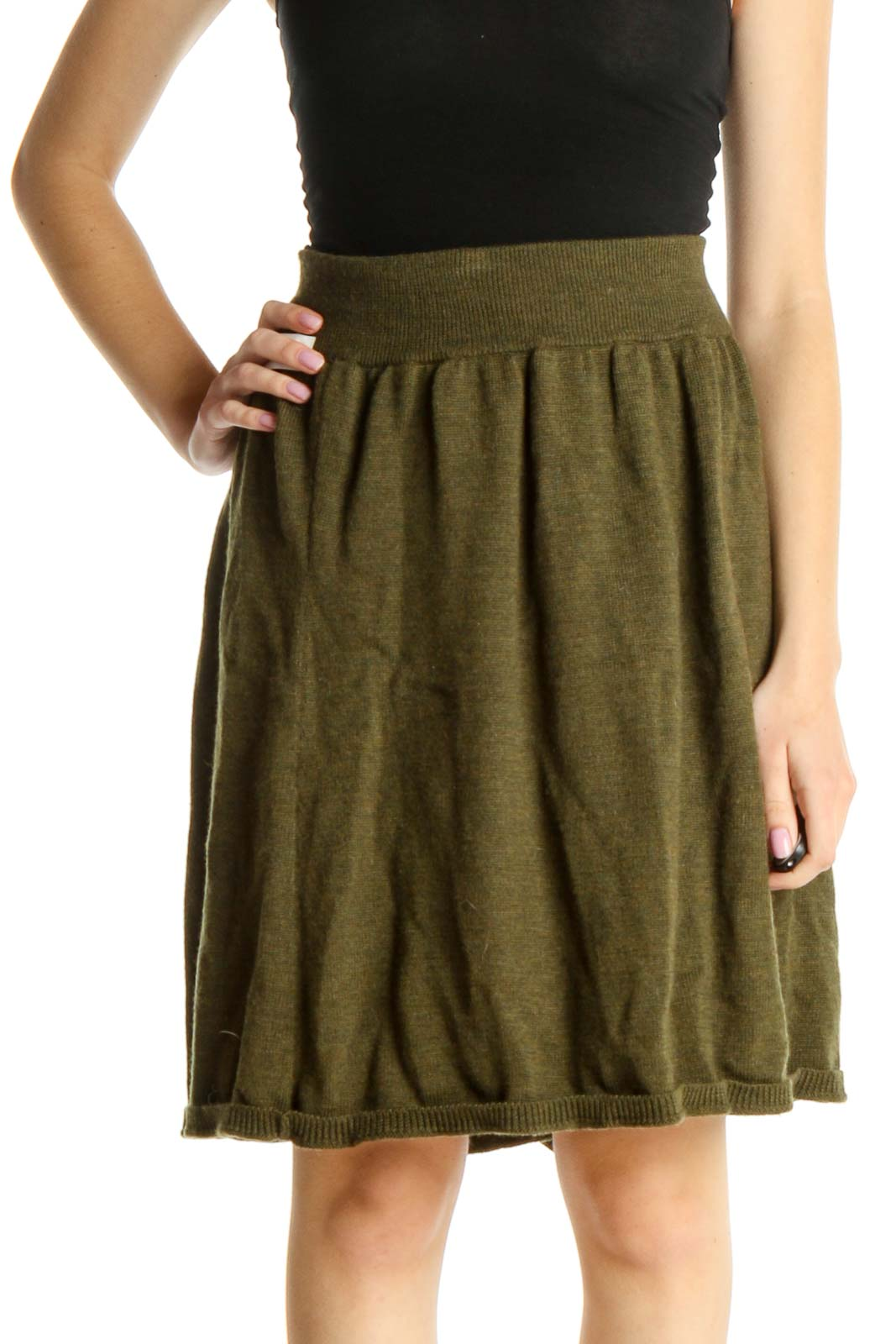 Green Solid Chic Flared Skirt Front