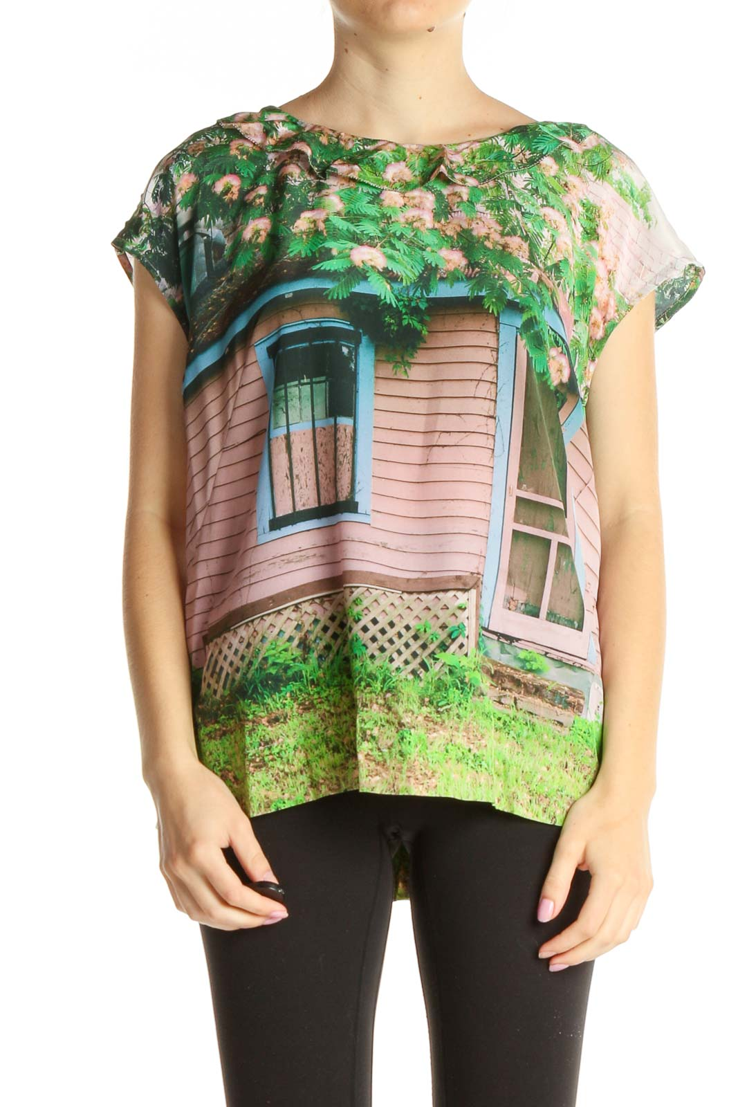 Pink Printed Casual T-Shirt Front