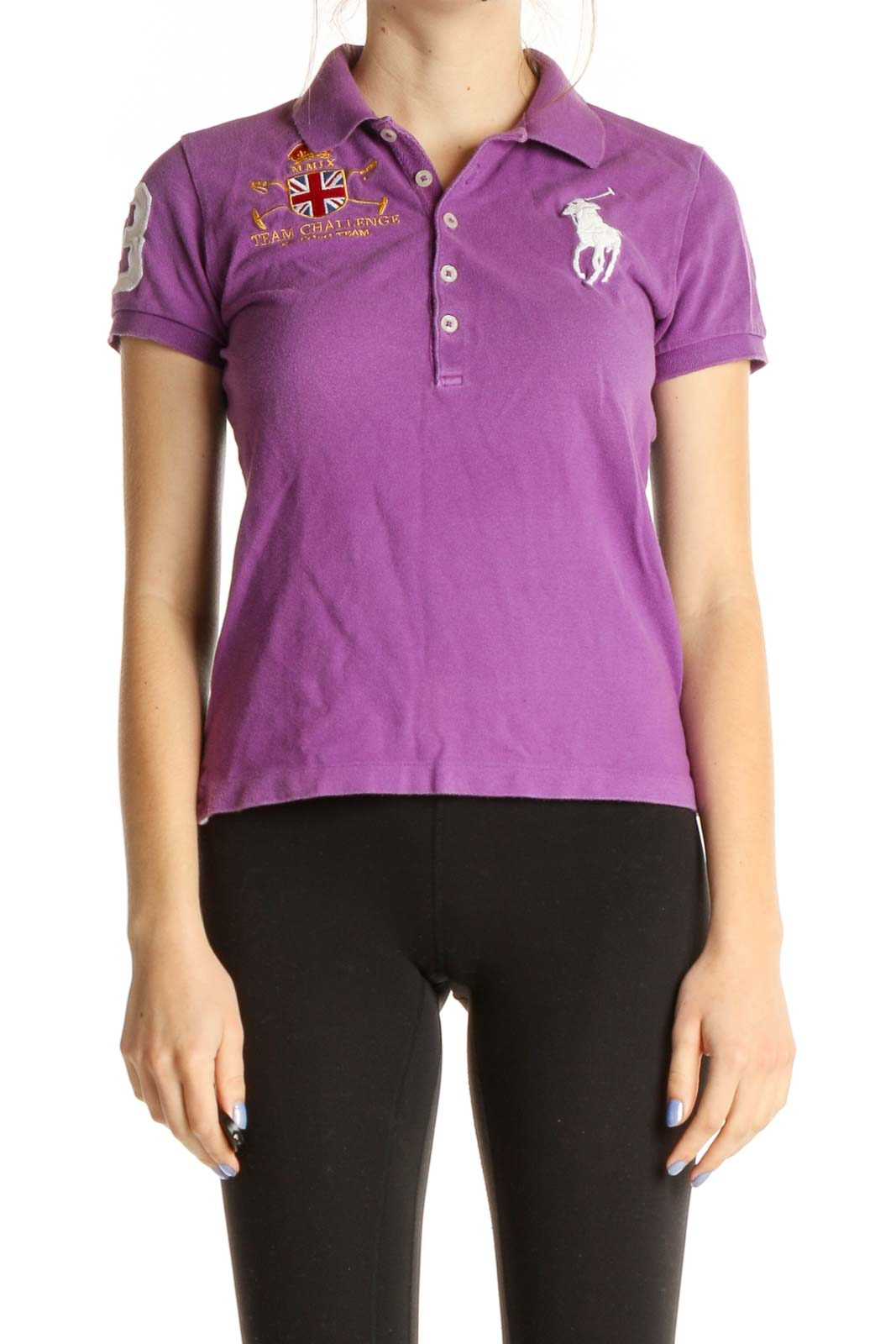 Purple Solid Formal Polo Shirt Front