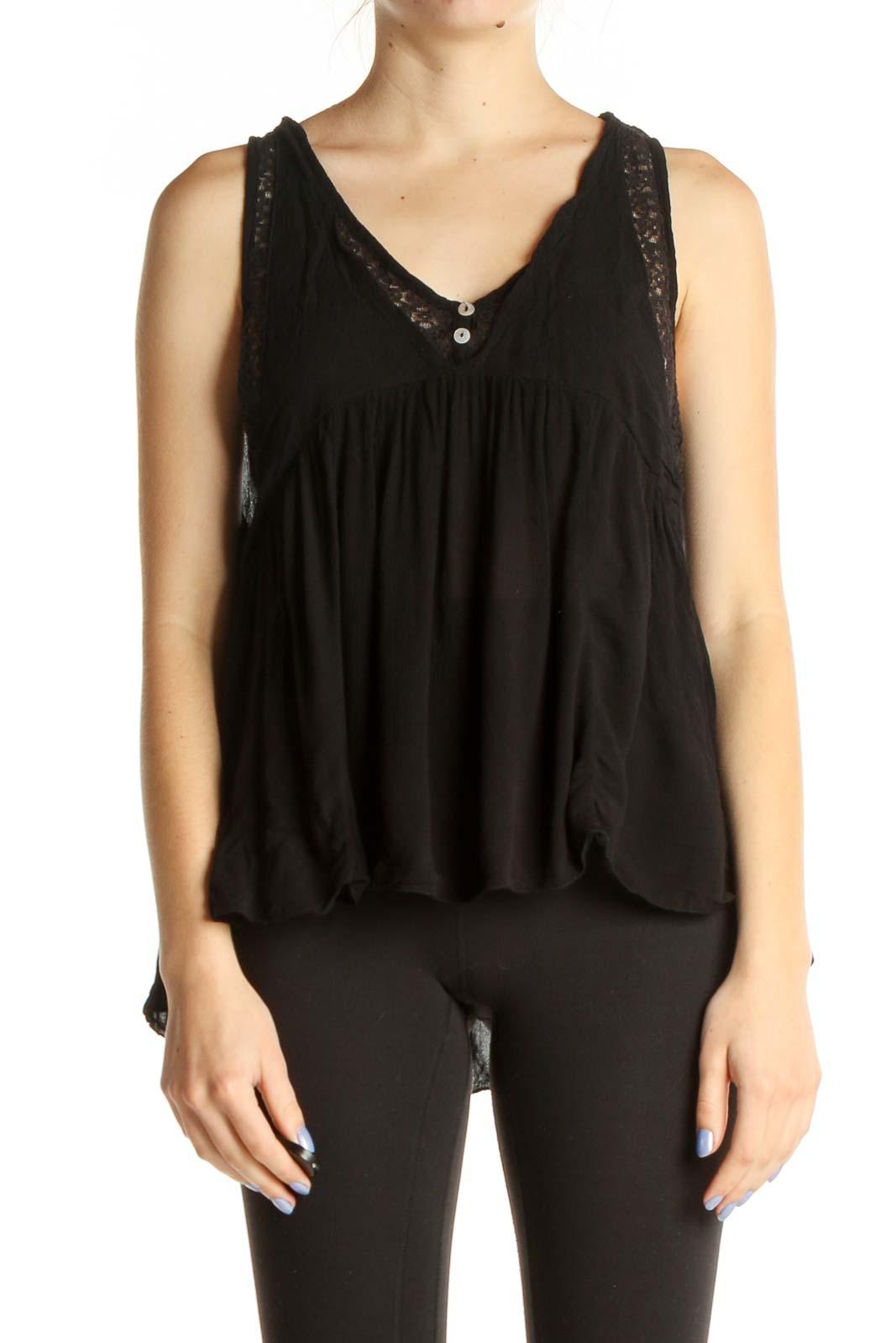 Black Lace Bohemian Blouse Front