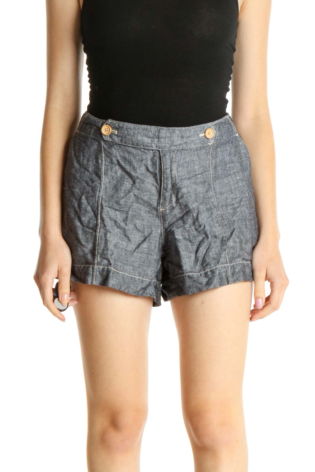 Gray All Day Wear Shorts Front