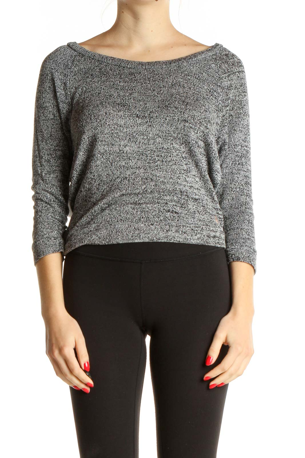 Gray Textured All Day Wear Top Front