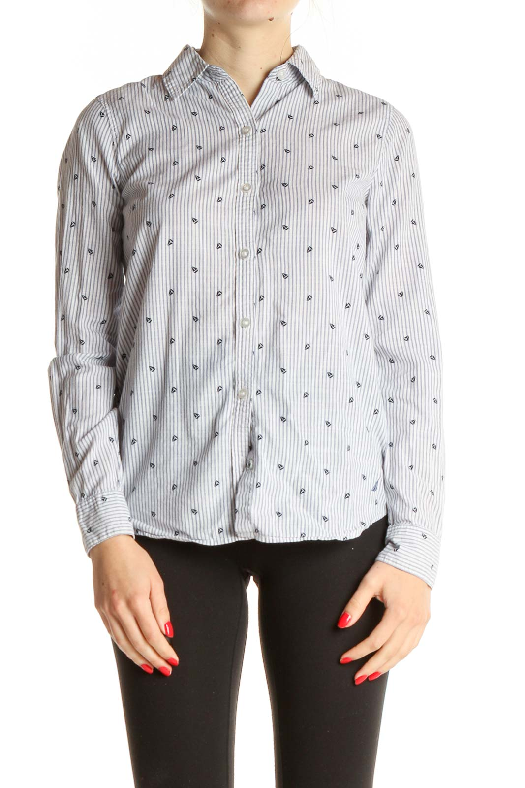 White Printed Formal Shirt Front