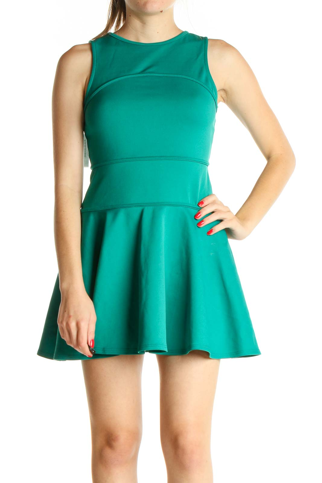 Green Solid Day Fit & Flare Dress Front