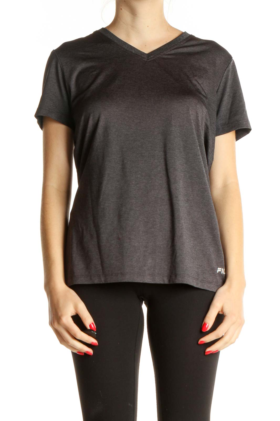 Gray Solid Activewear T-Shirt Front