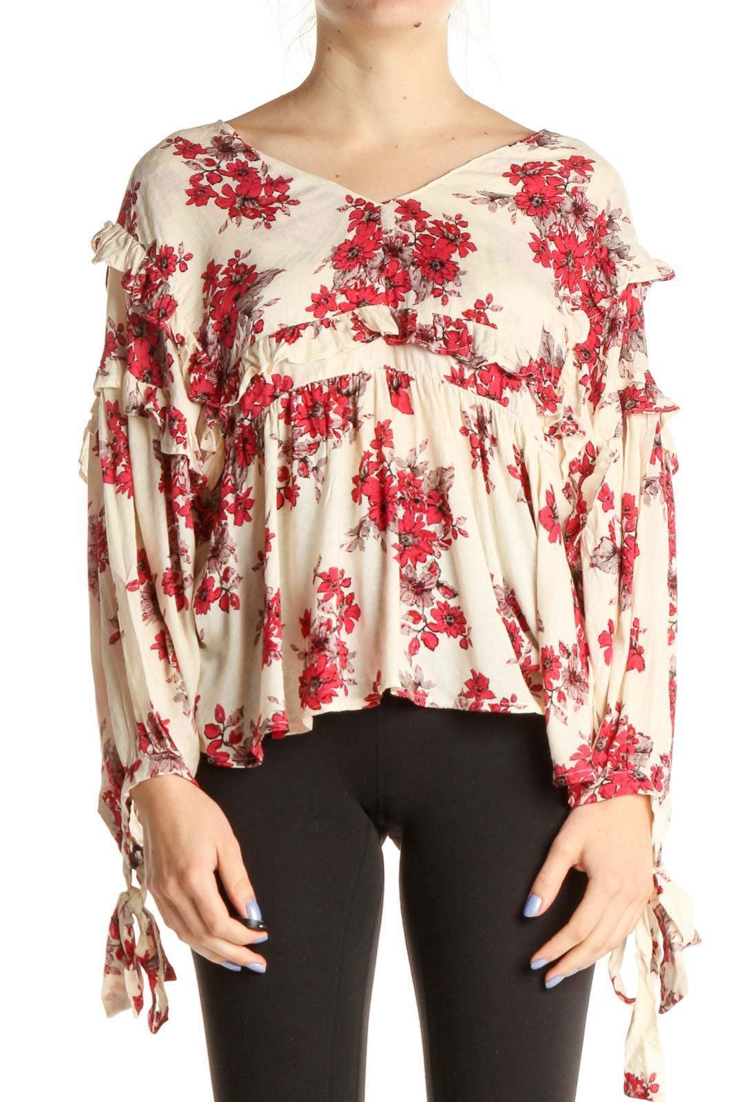Beige Floral Print Chic Blouse Front