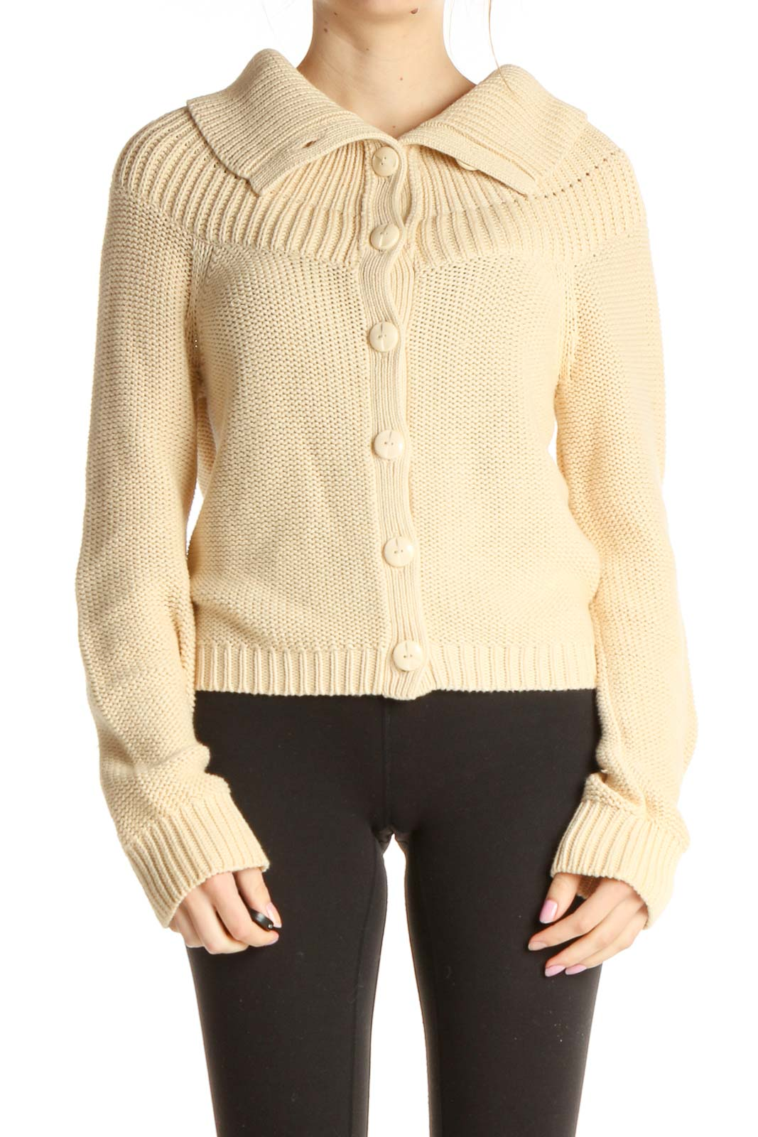 Beige Solid Chic Sweater Front