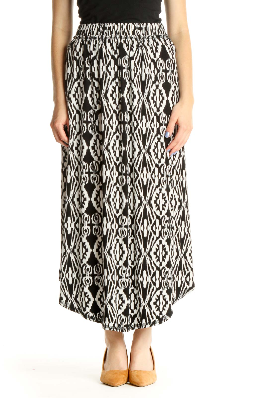 White Printed Holiday Skirt Front