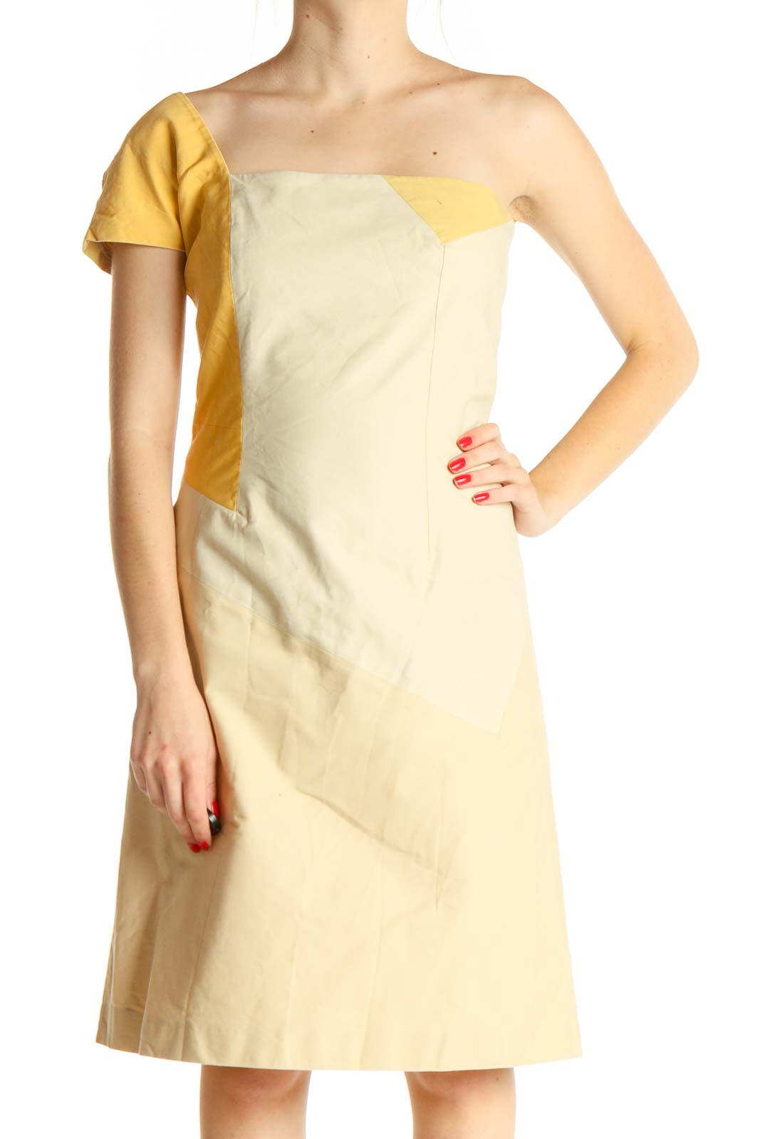 One Shoulder Yellow and Beige Color-block Dress Front