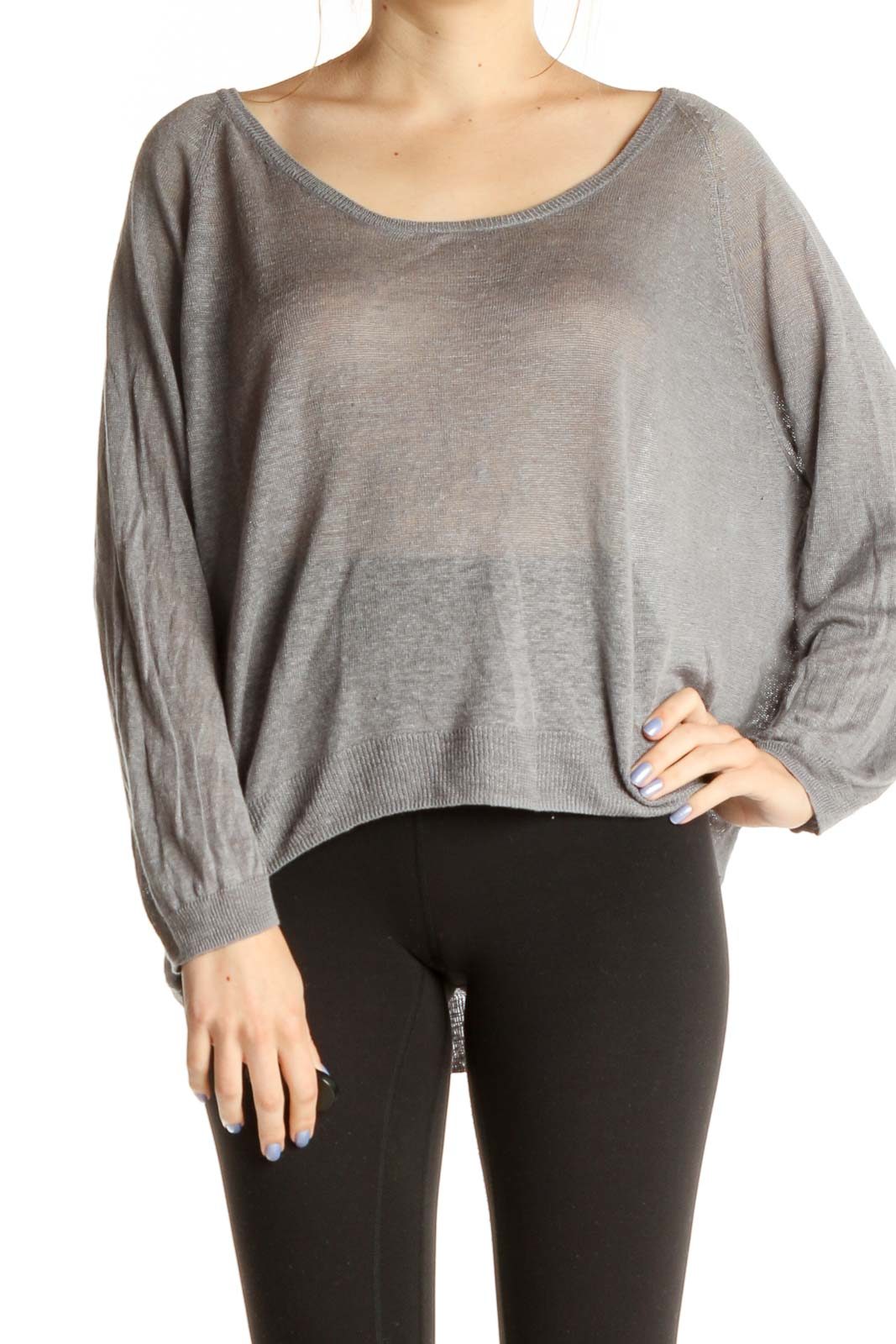 Gray Solid Classic Shirt Front