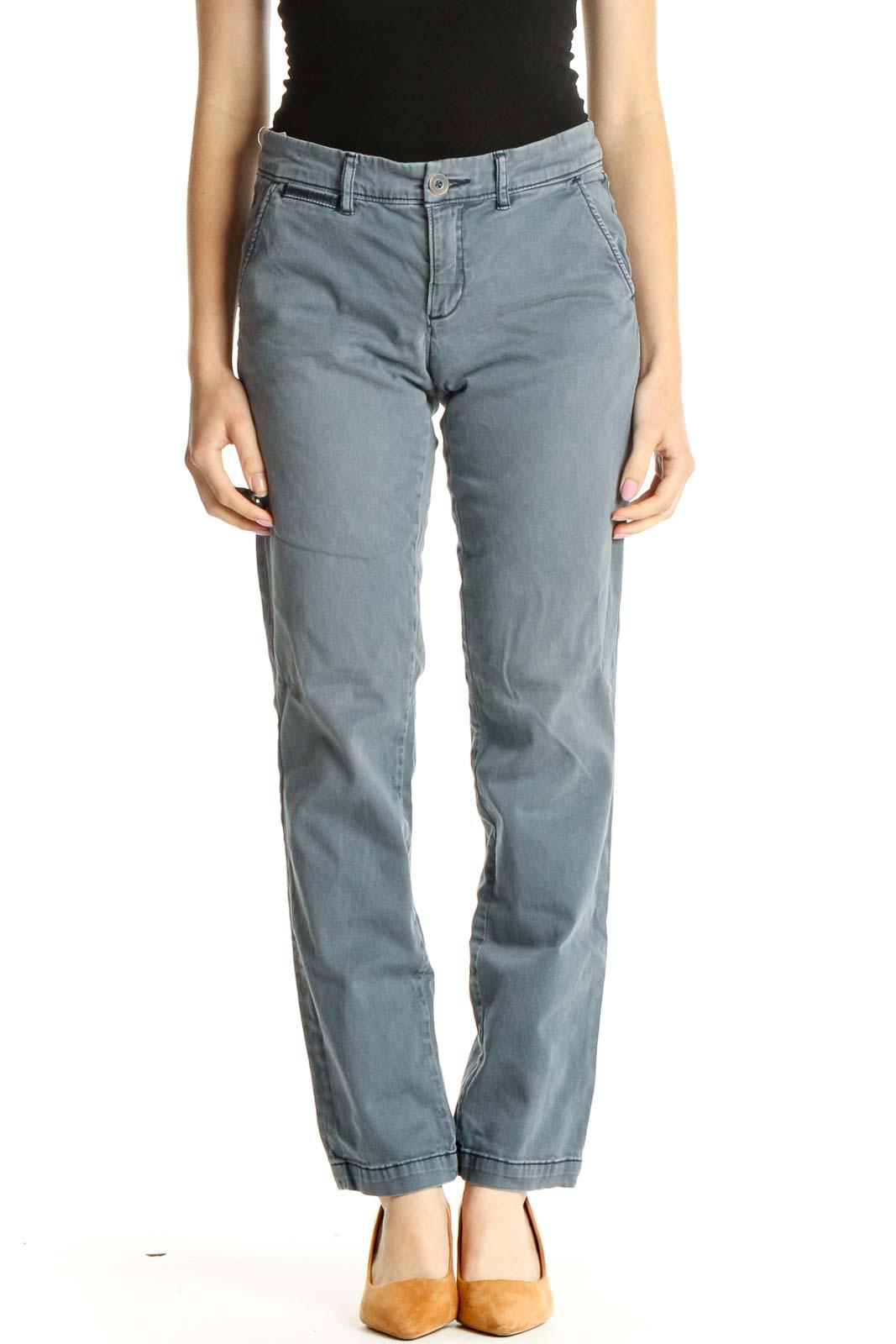 Blue Straight Leg Pants Front