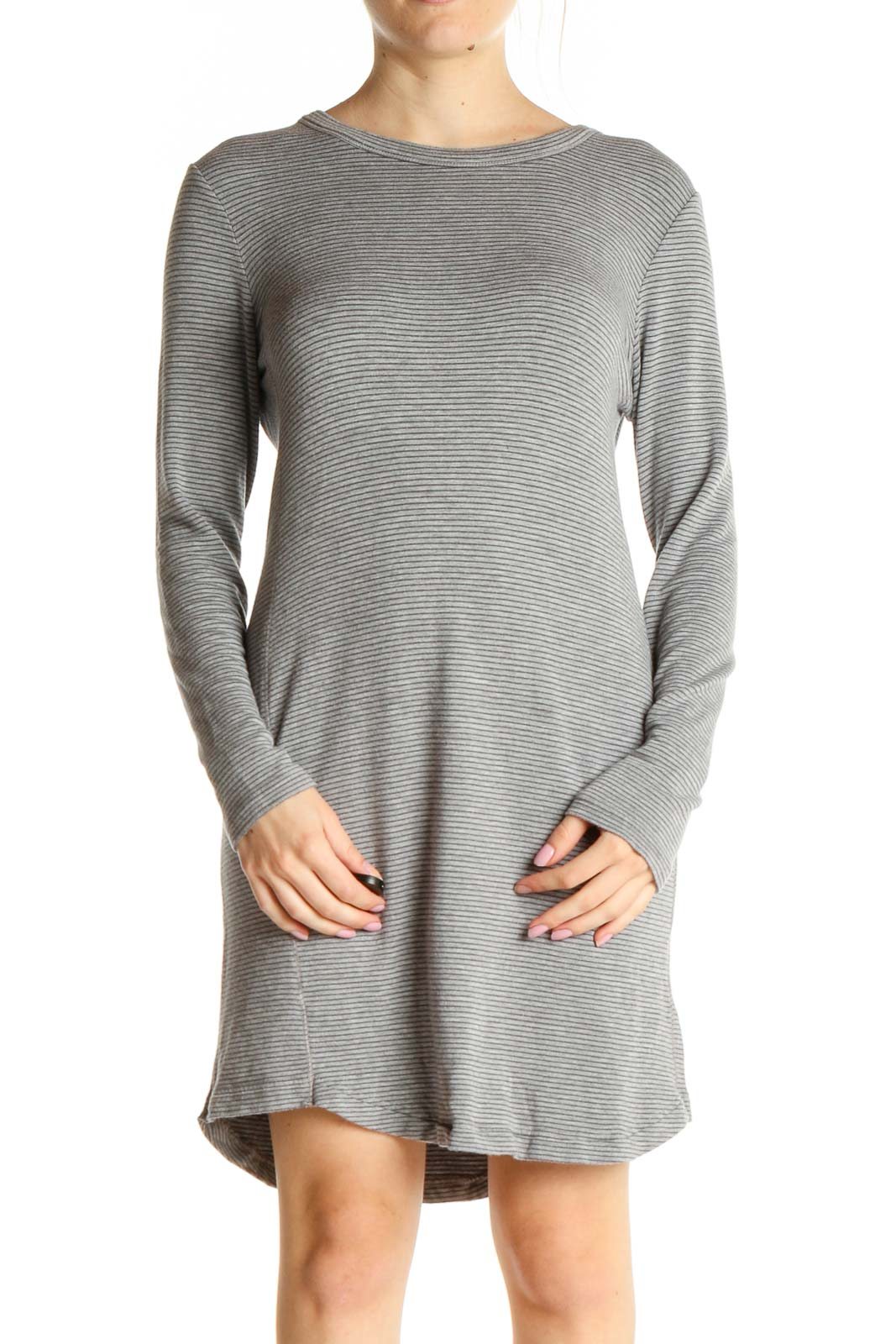 Gray Striped Day Dress Front