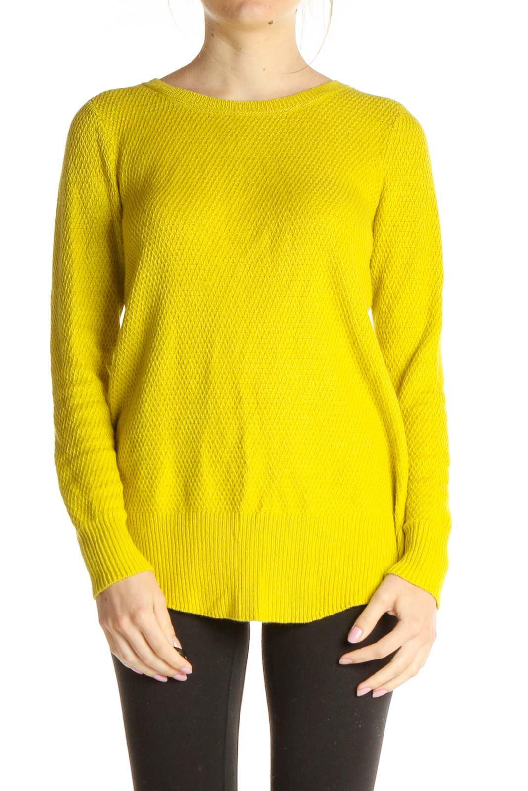 Yellow Solid All Day Wear Sweater Front
