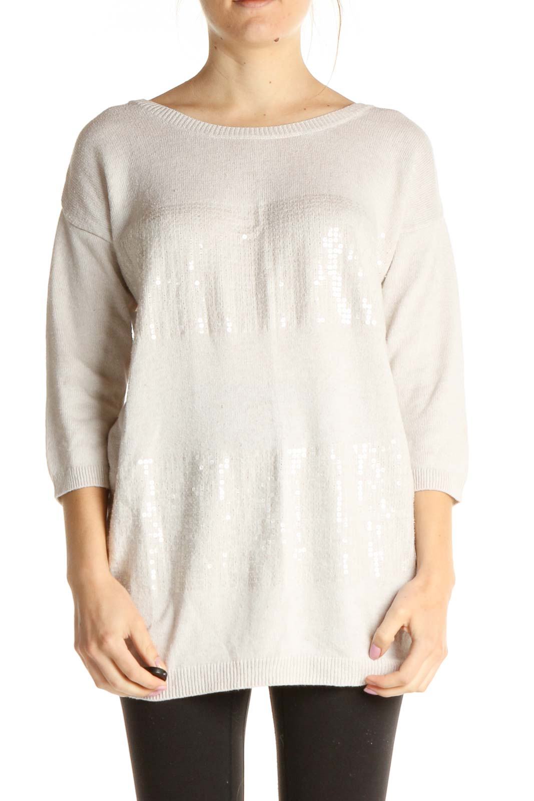 Beige Sequin All Day Wear Sweater Front