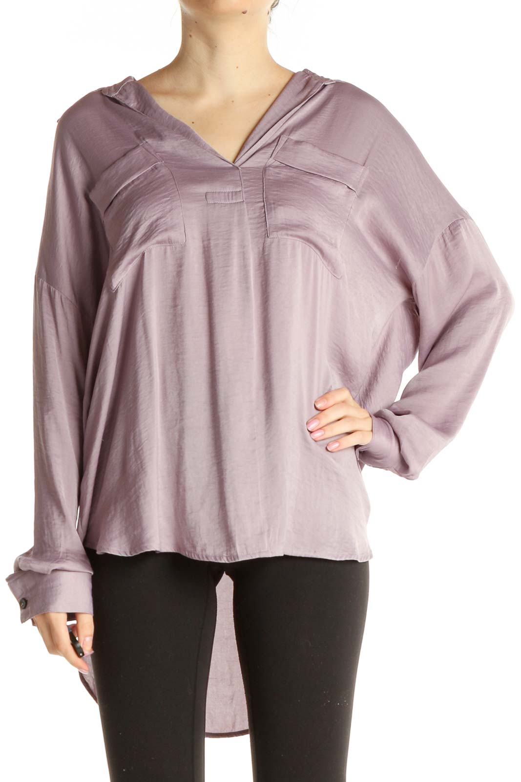 Purple Solid Chic Blouse Front