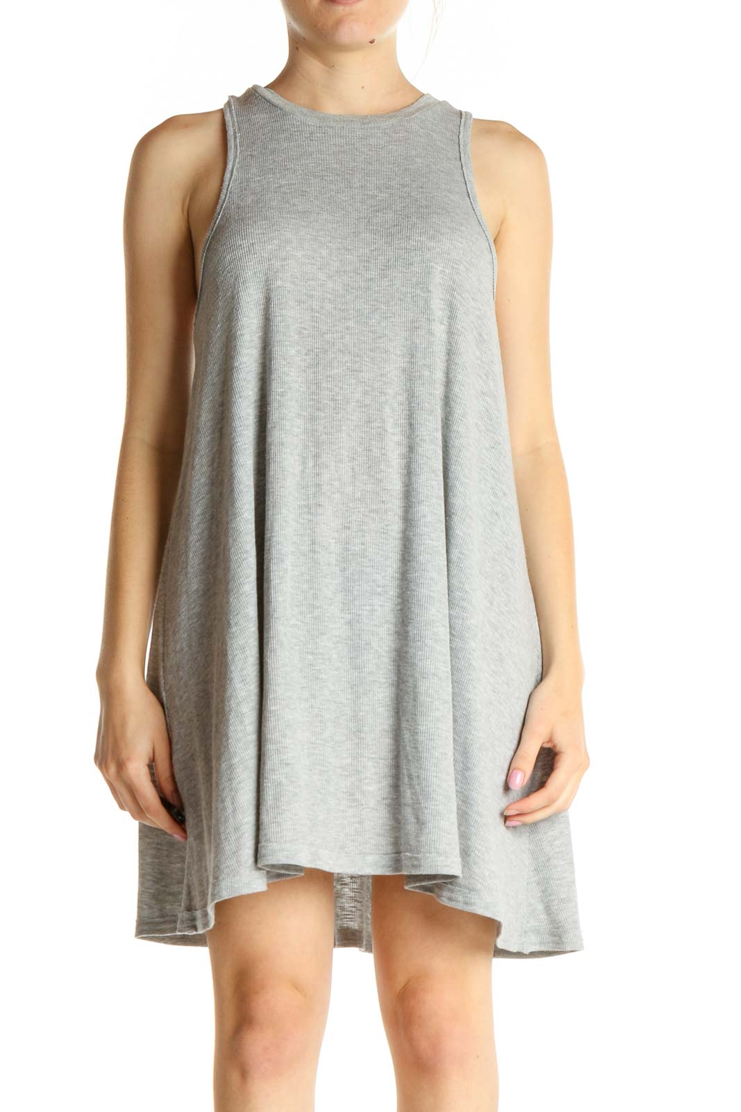Gray Solid Ribbed Day Dress Front