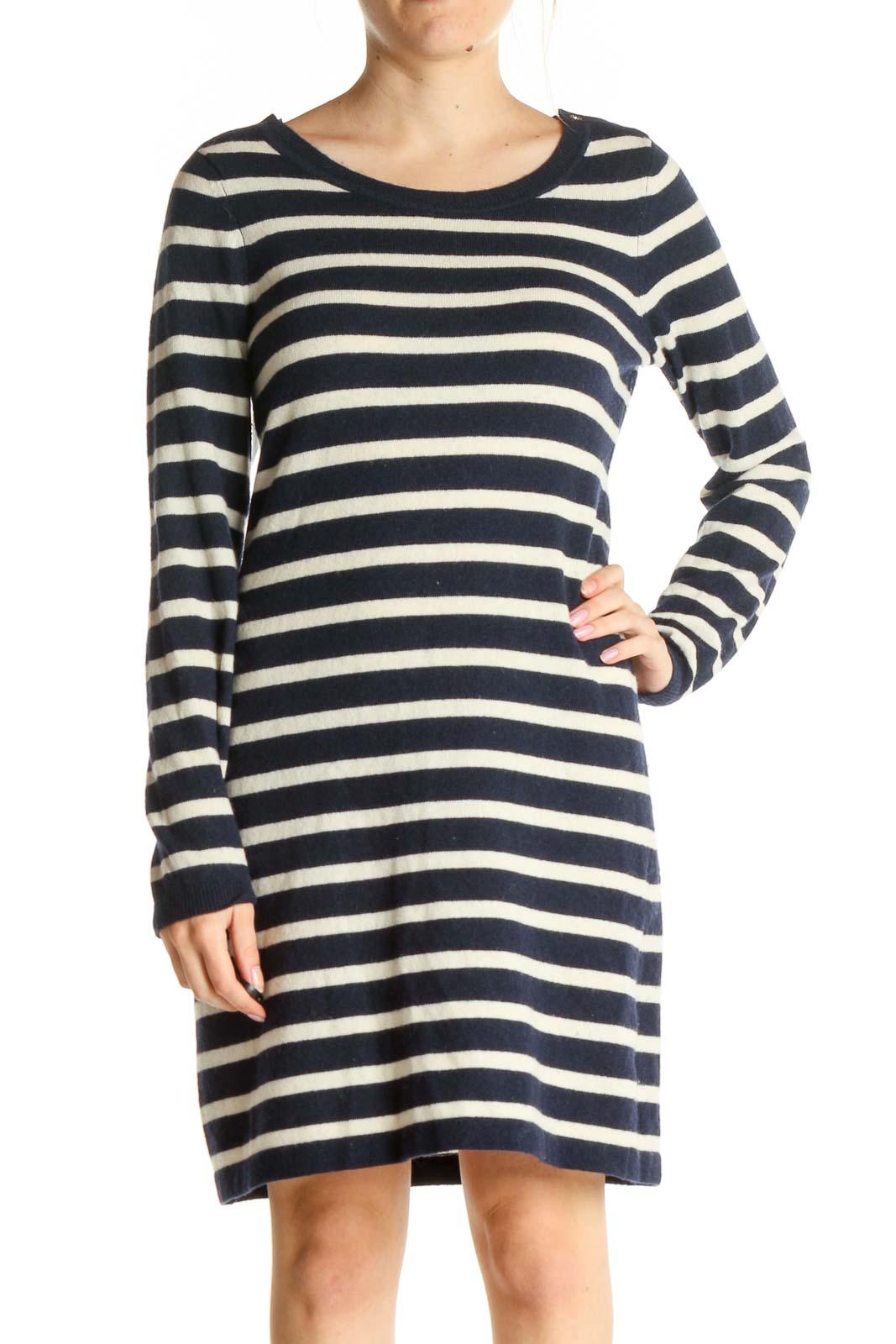 Beige Striped Day Sheath Dress Front