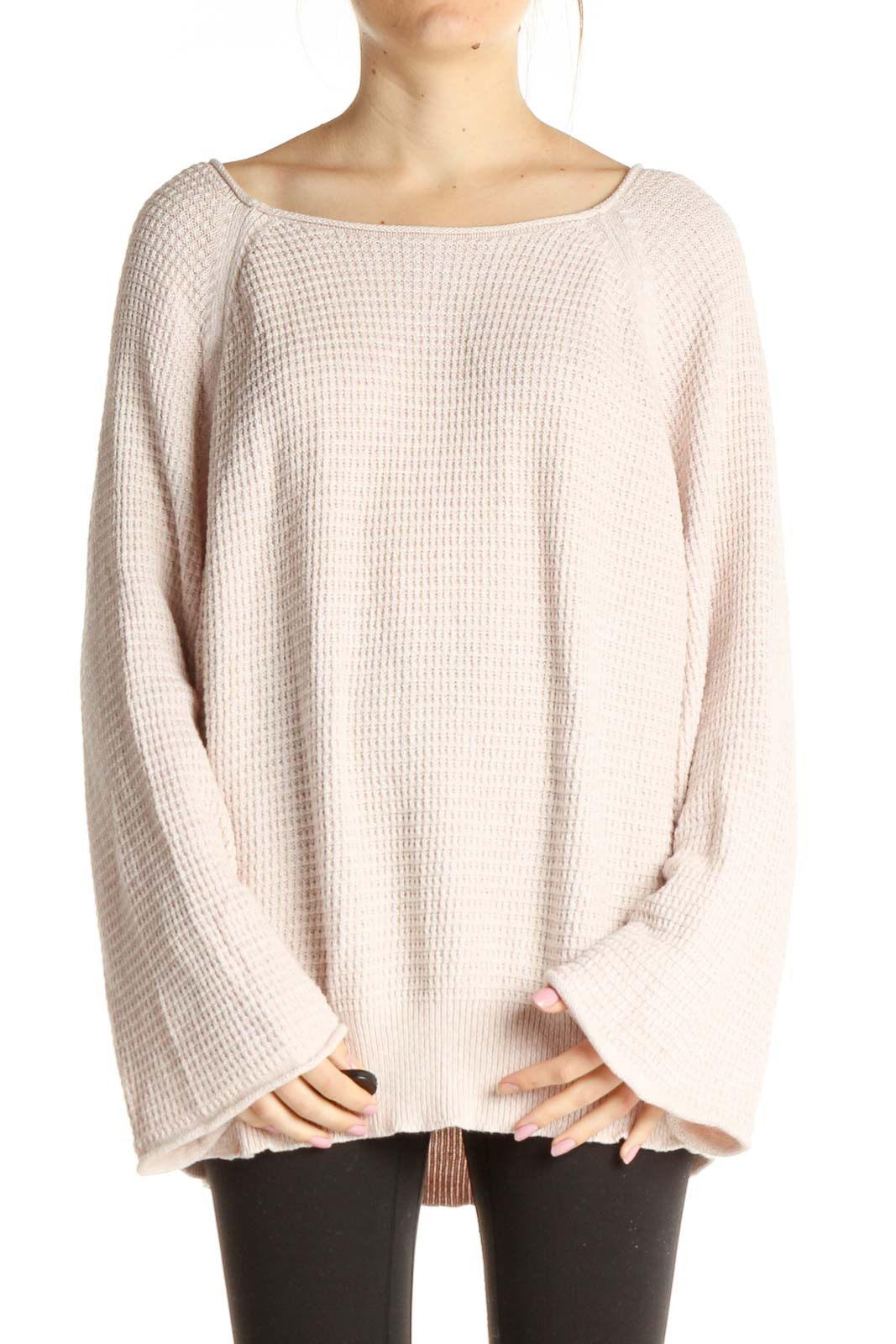 Pink Textured Classic Sweater Front