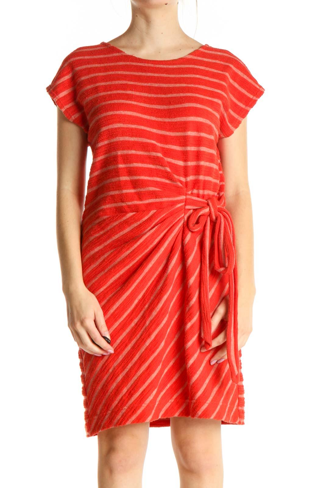 Orange Striped Casual Dress Front