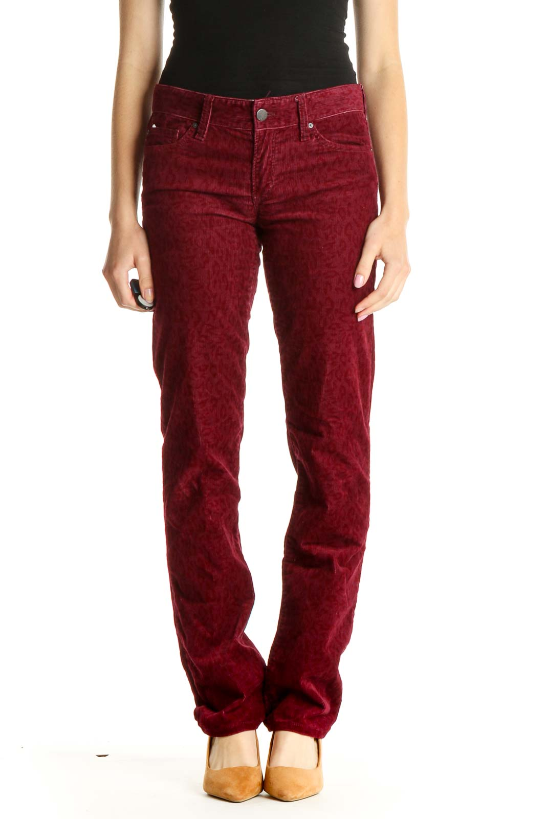 Red Animal Print Casual Pants Front