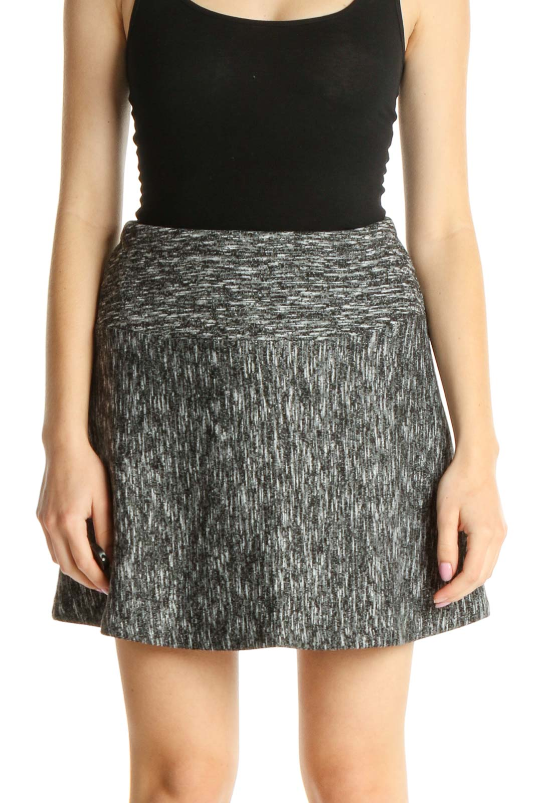 Gray Chic A-Line Skirt Front
