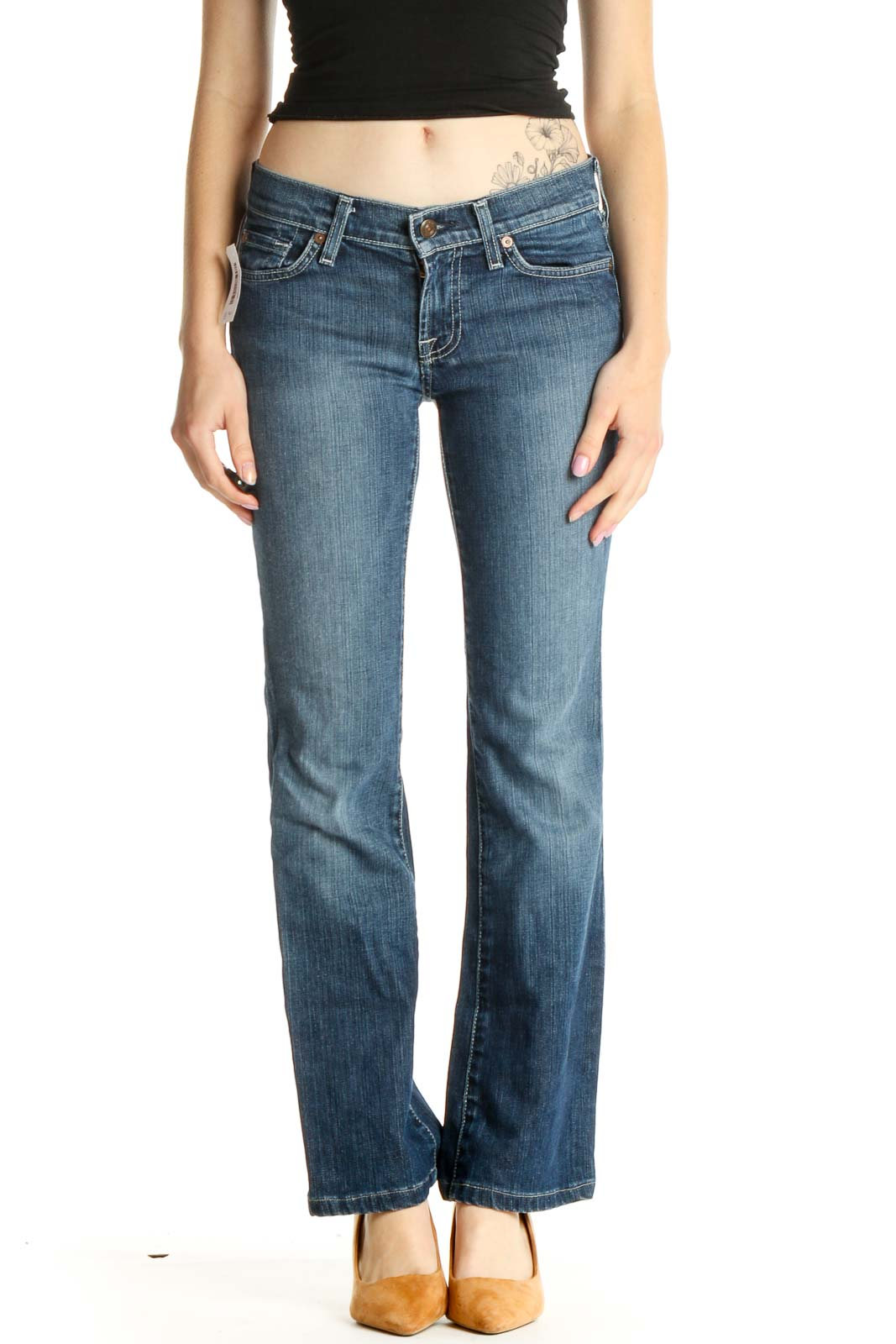 Blue Low-Rise Straight Leg Jeans Front