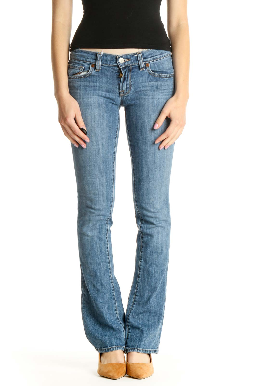 Blue Low-Rise Bootcut Jeans Front