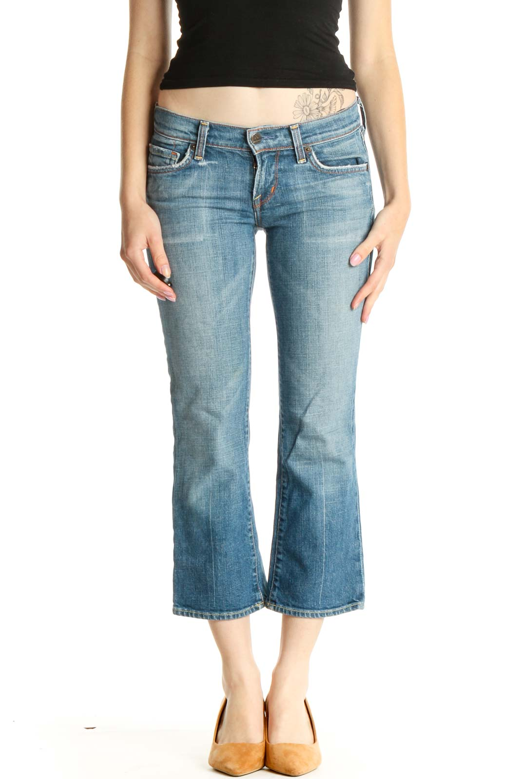 Blue Low-Rise Cropped Bootcut Jeans Front