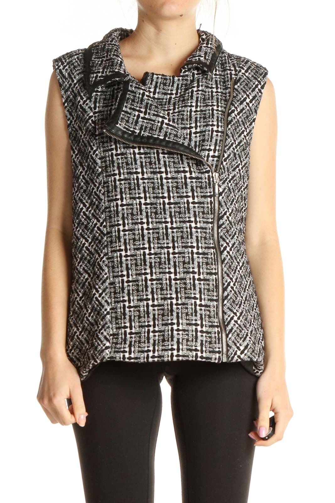 Gray Checkered Vest Front