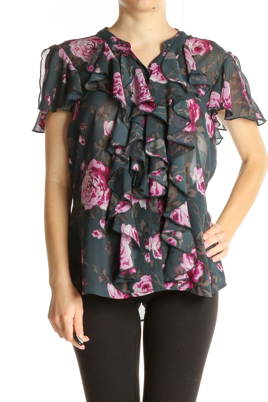 Gray Floral Print Blouse Front