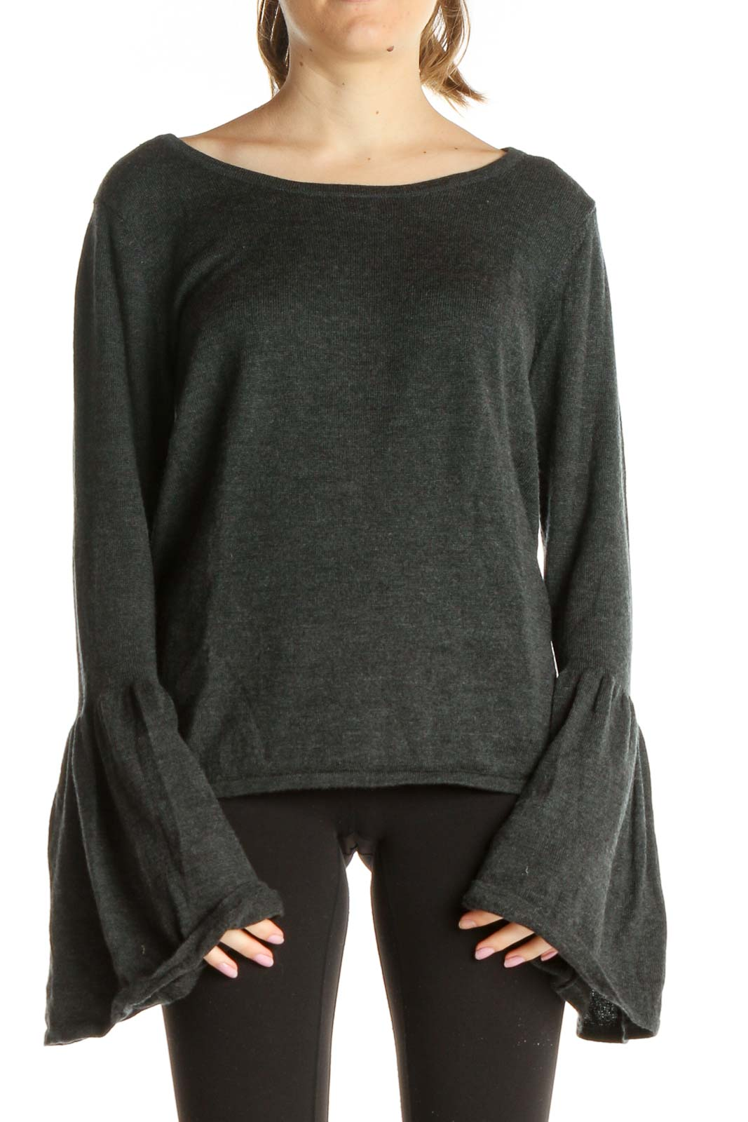 Gray Solid Chic Merino Wool Blouse Front