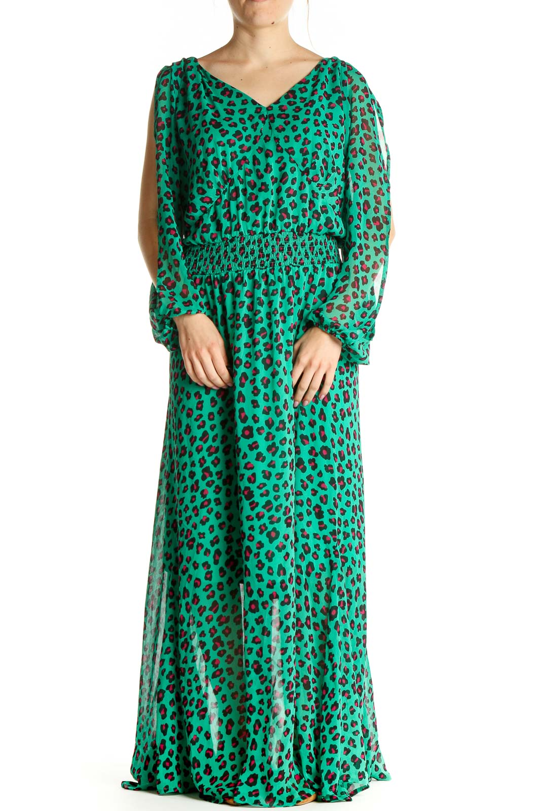Green Chic Animal Print Fit & Flare Dress Front