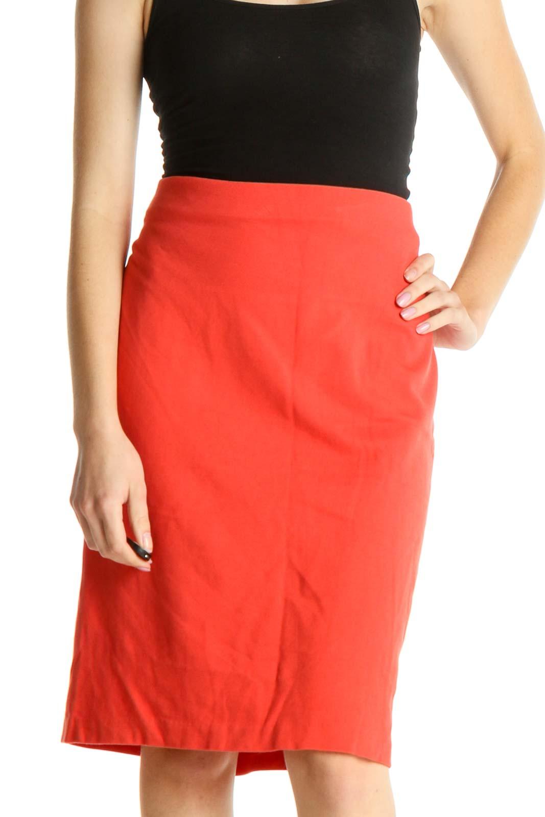 Orange Brunch Pencil Skirt Front
