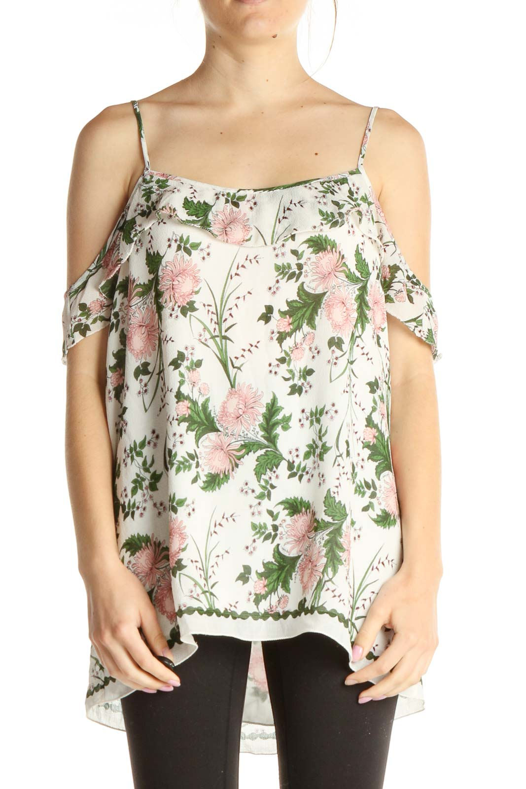 White Floral Print Holiday Top Front