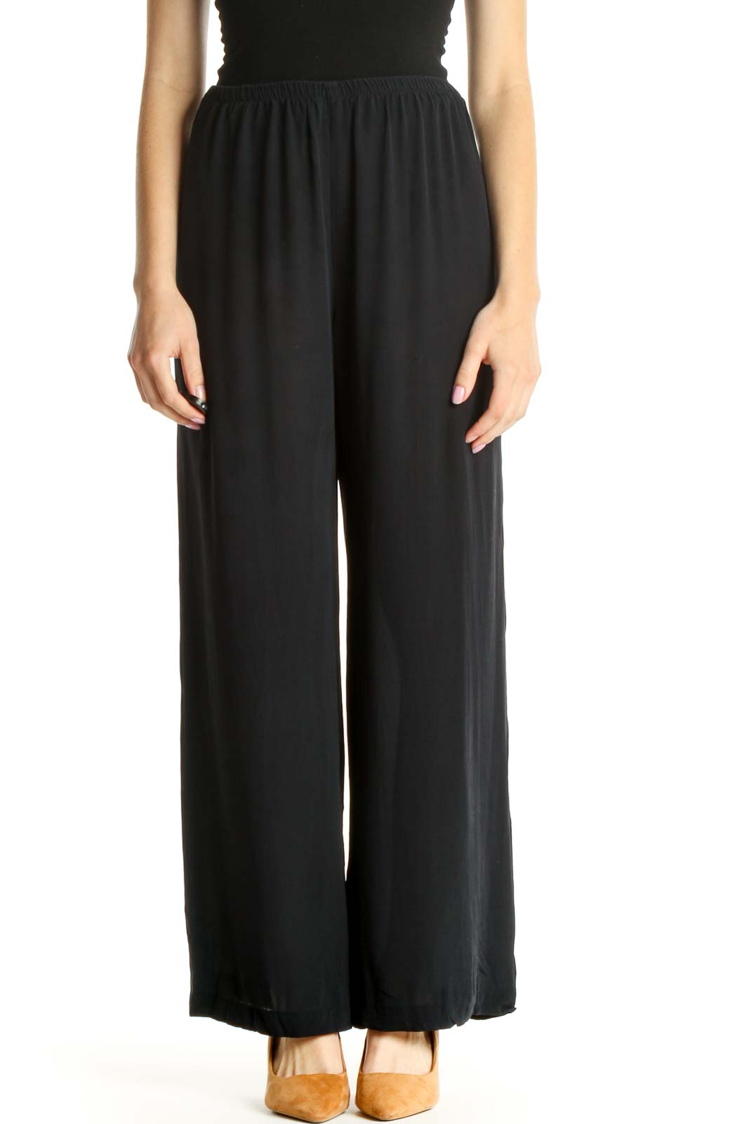 Black Solid Classic Palazzo Pants Front