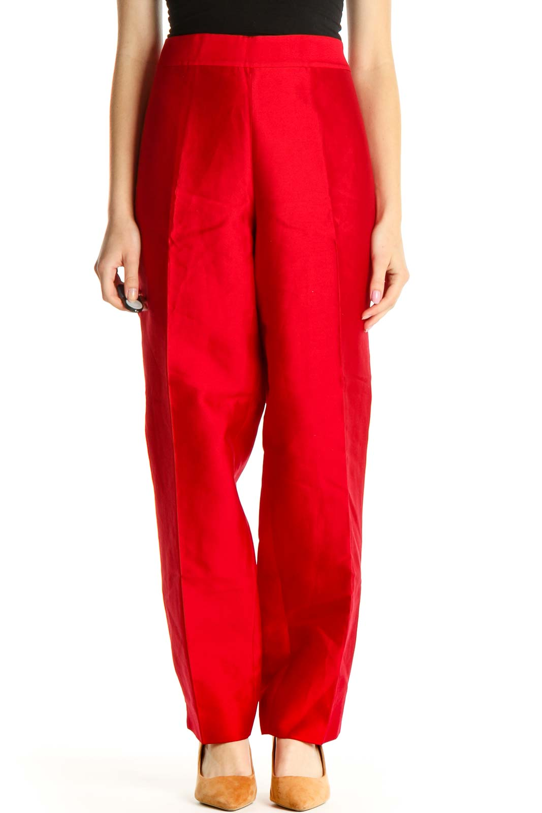 Red Solid Retro Silk Trousers Front