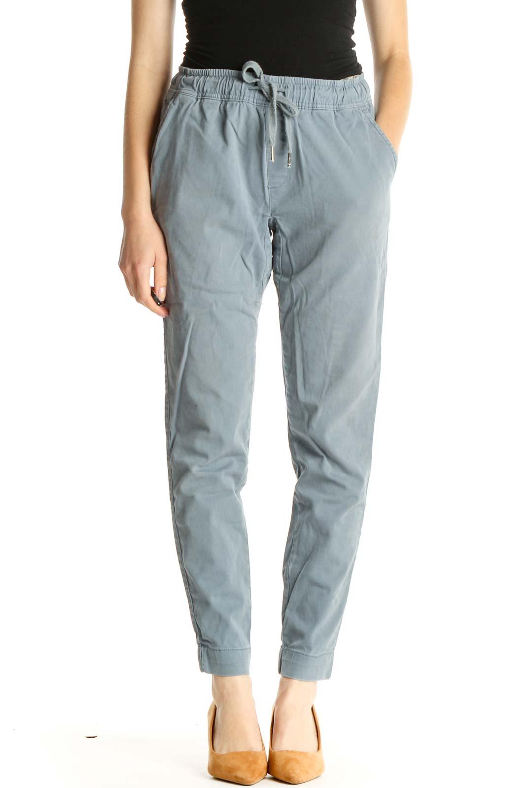 Blue Solid All Day Wear Pants Front