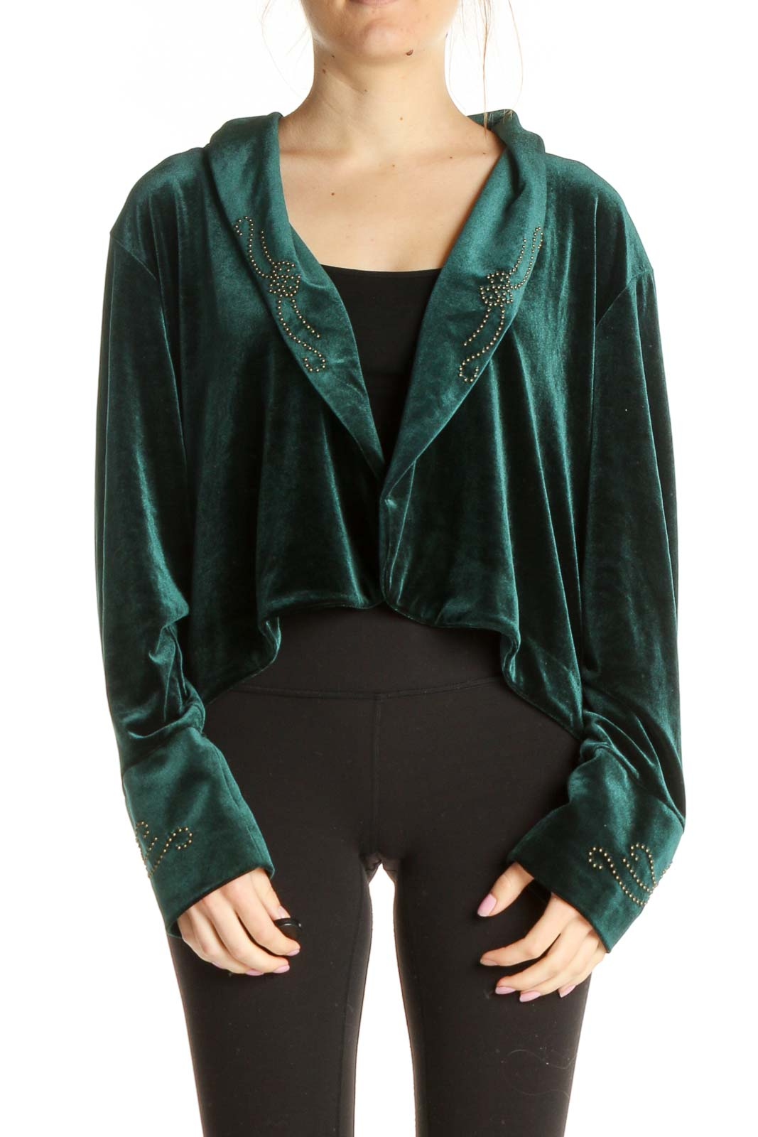 Green Velour Cardigan Front