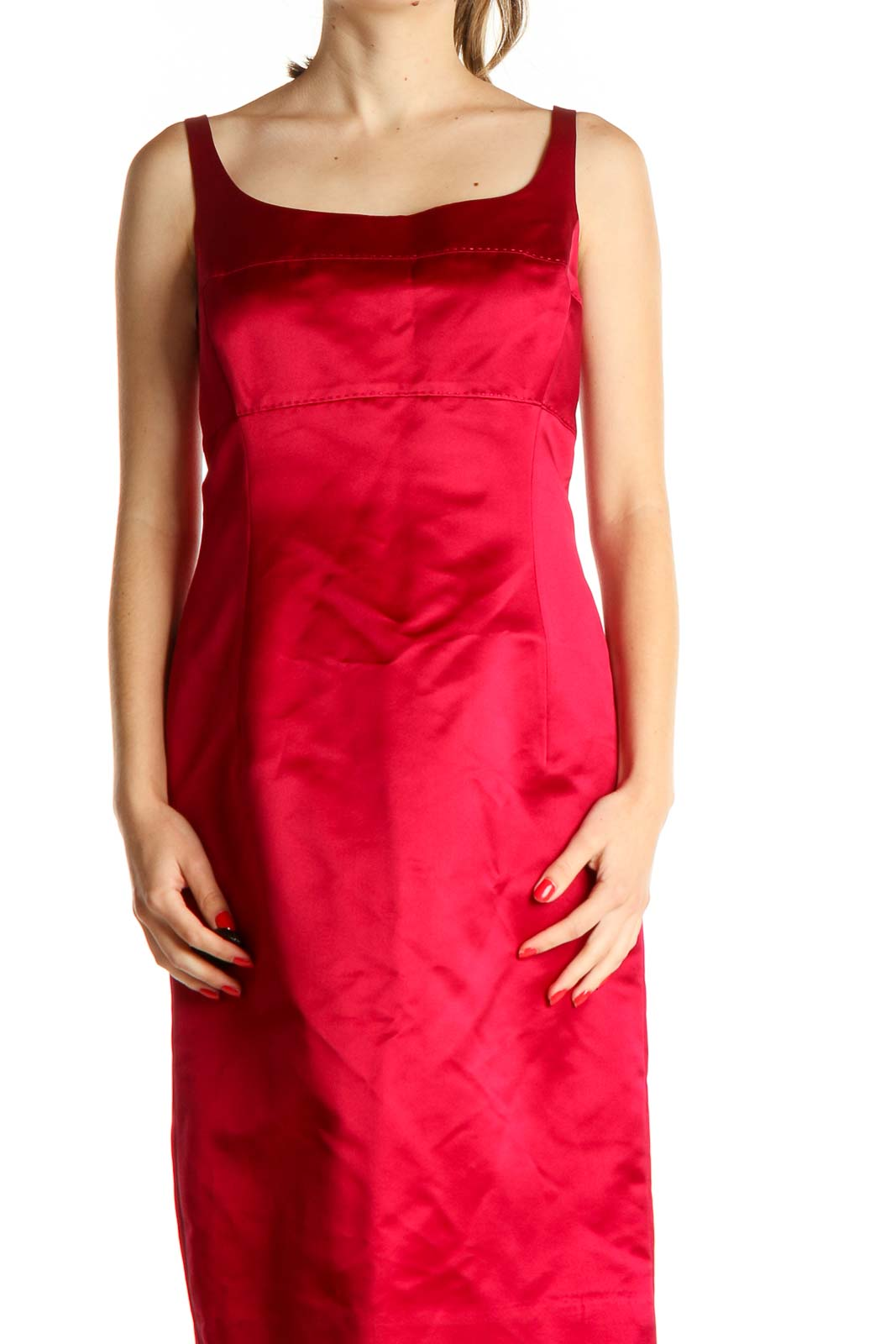 Red Sheath Dress Front