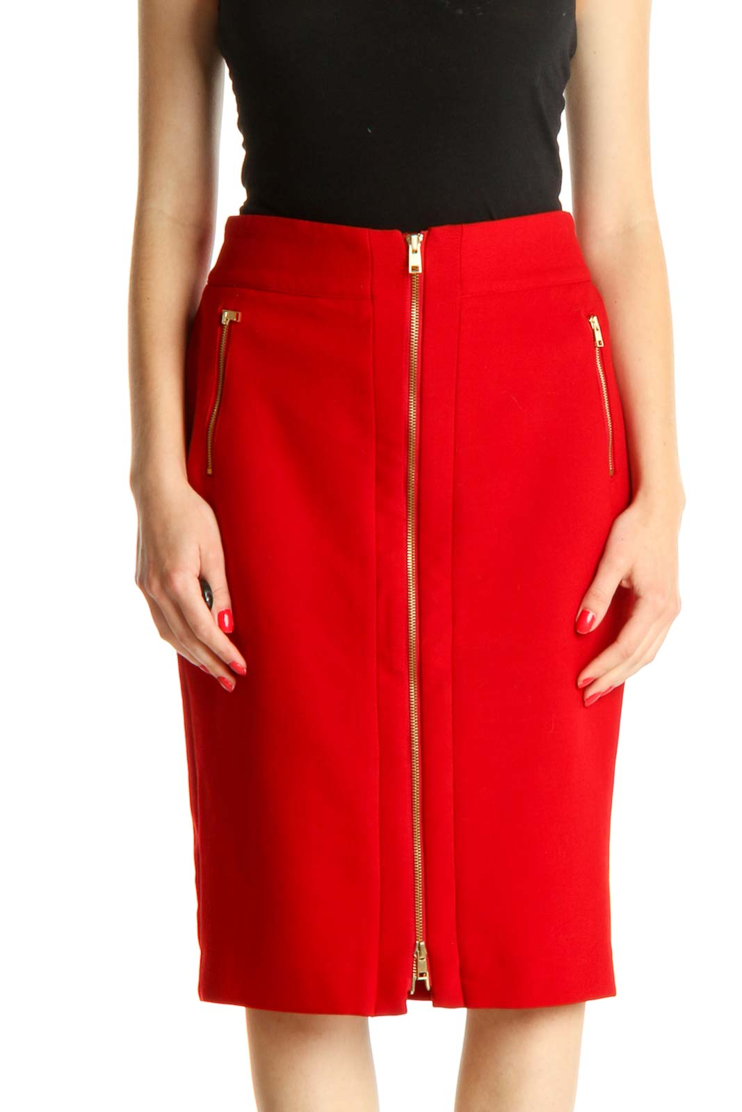 Red Solid Party Pencil Skirt Front