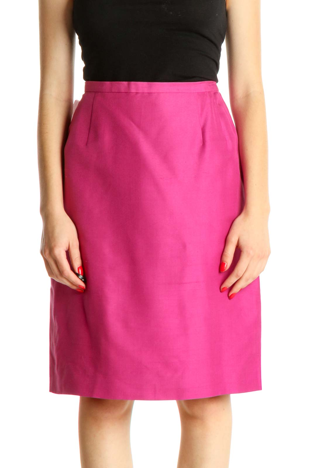 Pink Solid Classic A-Line Skirt Front