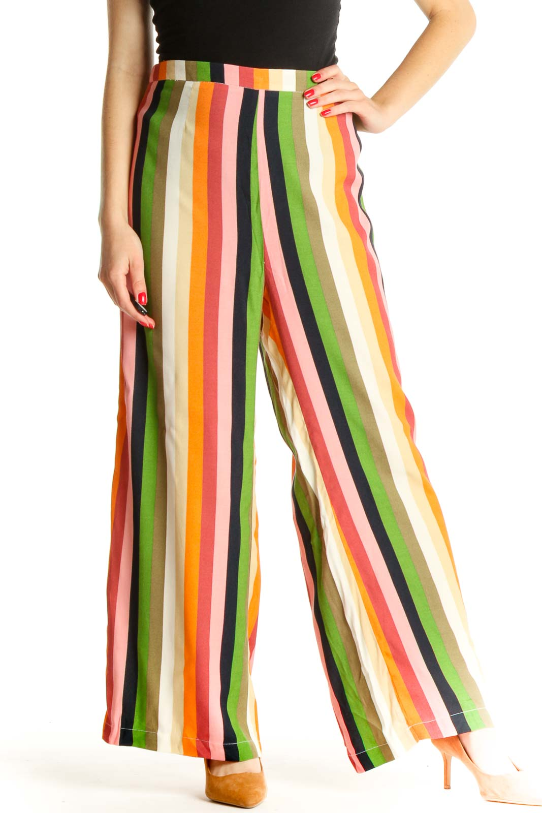 Beige Striped All Day Wear Palazzo Pants Front