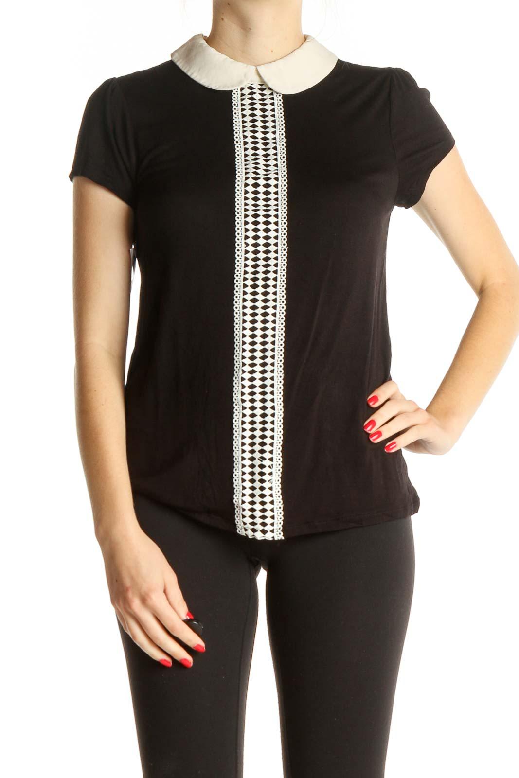 Black Solid Shirt Front