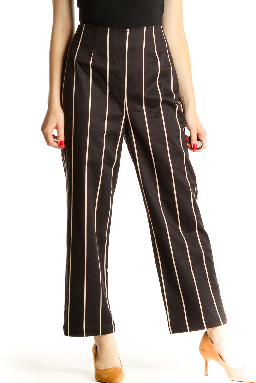 Black Striped Chic Palazzo Pants Front