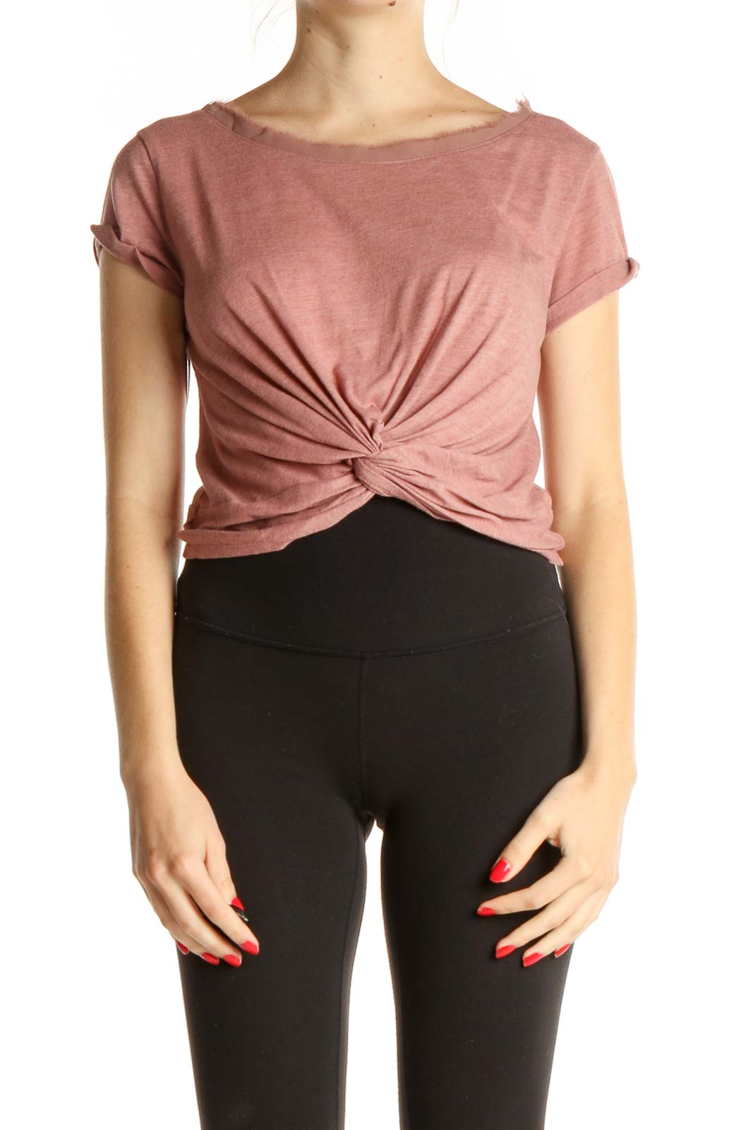 Pink Solid Activewear T-Shirt Front