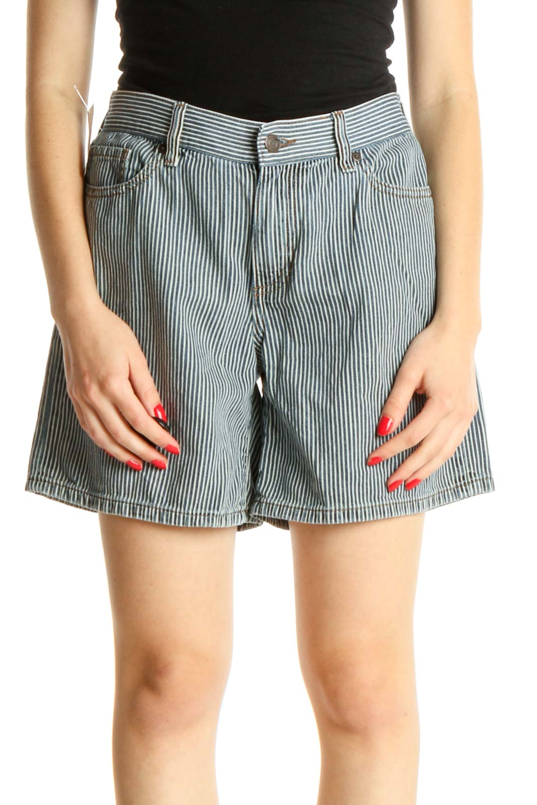 Gray Striped Chic Shorts Front